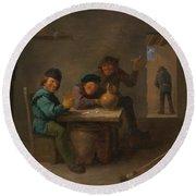 Peasants In A Tavern Round Beach Towel