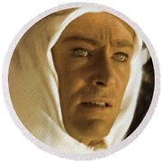 Peter O'toole As Lawrence Of Arabia Round Beach Towel