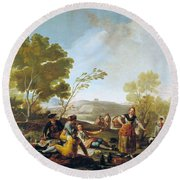 Picnic On The Banks Of The Manzanares Round Beach Towel