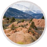 Pikes Peak From Red Rocks Canyon Round Beach Towel