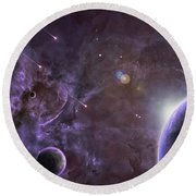 Planets Round Beach Towel