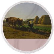 Cattle At Rest On A Hillside In The Alps Round Beach Towel