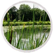 Pond At Beaver Island State Park In New York Round Beach Towel