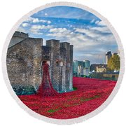 Poppies At The Tower Of London Round Beach Towel