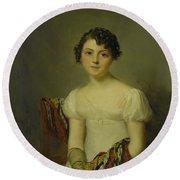 Portrait Of Andrienne Round Beach Towel