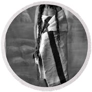Portrait Of Cree Indian Warrior Round Beach Towel