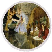 Portrait Of Mlle Fiocre In The Ballet  Round Beach Towel