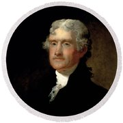 President Thomas Jefferson  Round Beach Towel by War Is Hell Store