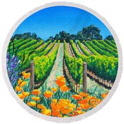 Presidio Vineyard Round Beach Towel
