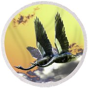 Psychedelic Metal Sculpture Of Two Swans Flying Round Beach Towel
