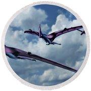 Pterodactyls In Flight Round Beach Towel