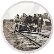 Railroad Workers Round Beach Towel