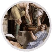 Raphael The Fire In The Borgo  Round Beach Towel