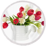 Red And White Tulips Round Beach Towel by Elena Elisseeva