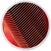 Red Classic Car Details Round Beach Towel by Oleksiy Maksymenko