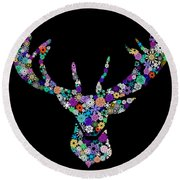 Reindeer Design By Snowflakes Round Beach Towel