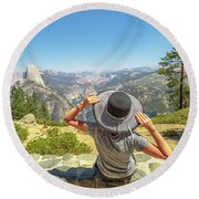 Relaxing At Glacier Point Round Beach Towel