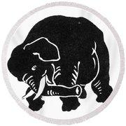 Republican Elephant, 1874 Round Beach Towel
