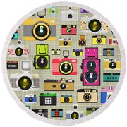 Retro Camera Pattern Round Beach Towel by Setsiri Silapasuwanchai