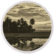 Rice Field Sunrise - Indonesia Round Beach Towel