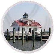 Roanoke Marshes Lighthouse Round Beach Towel