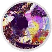 Robin Erithacus Rubecula Bird  Round Beach Towel