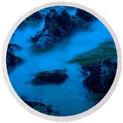 Rock Formations On The Coast, Central Round Beach Towel