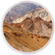 Rocks And Stones Mountains Ladakh Landscape Leh Jammu Kashmir India Round Beach Towel