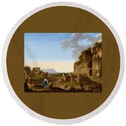 Roman Landscape With Ruins And Travellers Round Beach Towel
