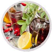 Rosehip Tea With Honey And Lemon In Glass Round Beach Towel