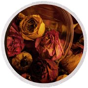 Roses Spilling Out Of Vase Round Beach Towel
