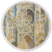 Rouen Cathedral, West Facade, Sunlight Round Beach Towel