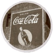 Route 66 - Coca Cola Ghost Mural Round Beach Towel