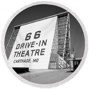 Route 66 - Drive-in Theatre Round Beach Towel