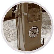 Route 66 Gas Pump Round Beach Towel