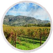 Rows Of Grapevines In Napa Valley Caliofnia Round Beach Towel