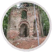Ruins Of The Baroque Chapel Of Saint Mary Magdalene Round Beach Towel