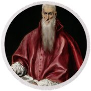 Saint Jerome As Scholar Round Beach Towel