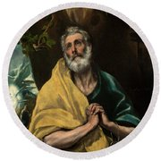 Saint Peter In Tears Round Beach Towel