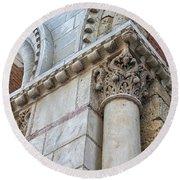 Saint Sernin Basilica Architectural Detail Round Beach Towel