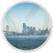 San Francisco California City Skyline At Spring Sunset Round Beach Towel