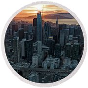 San Francisco City Skyline At Sunset Aerial Round Beach Towel