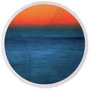 Santa Monica Sunset 1 Round Beach Towel