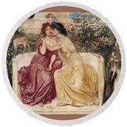 Sappho And Erinna In A Garden At Mytilene Round Beach Towel