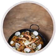 Seafood And Rice Paella Traditional Spanish Food Round Beach Towel