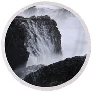 Seal Rock Waves And Rocks 4 Round Beach Towel