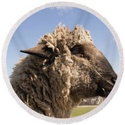 Sheep In Profile Round Beach Towel