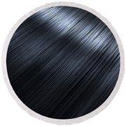 Shiny Black Hair  Round Beach Towel