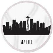 Seattle Skyline Silhouette Round Beach Towel