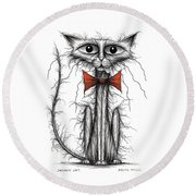 Skinny Cat Round Beach Towel